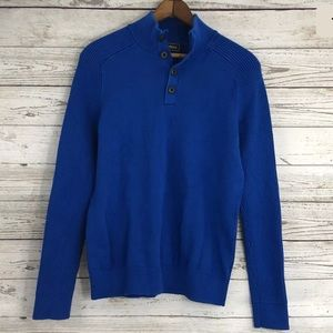Express Sweater Turtleneck Button Up Ribbed Blue